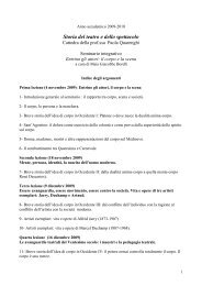 Storia del teatro e dello spettacolo - Dipartimento di Storia dell'Arte e ...