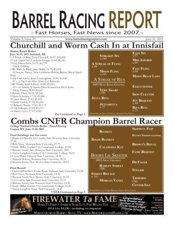 Combs CNFR Champion Barrel Racer - Barrel Racing Report