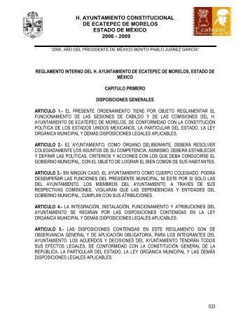 Reglamento interno del H. Ayuntamiento de Ecatepec de Morelos ...