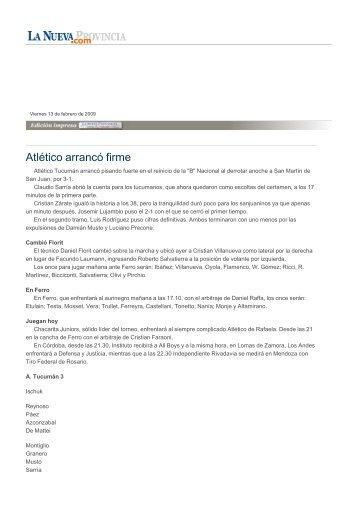 Atlético arrancó firme - La Nueva Provincia