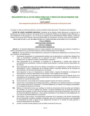 Reglamento de la Ley de Obras Públicas y Servicios ... - Conagua