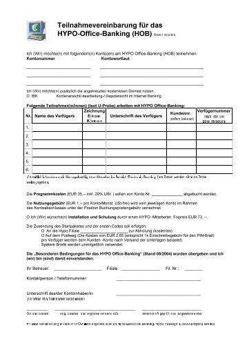 Teilnahmevereinbarung für das HYPO Office Banking (HOB) Stand ...