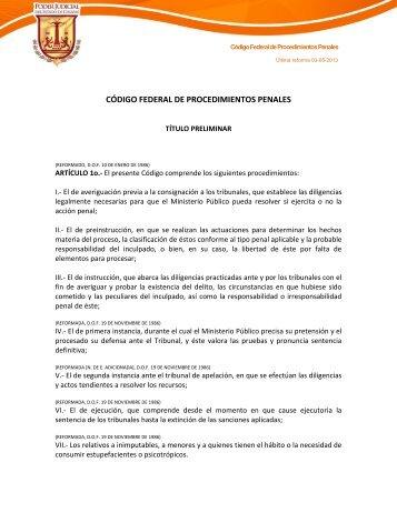 código federal de procedimientos penales - Poder Judicial del ...