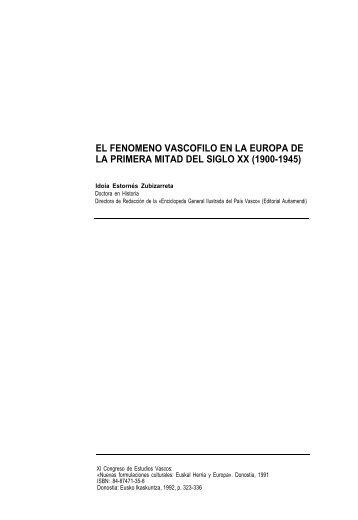 El fenómeno vascófilo en la Europa de la primera mitad del siglo XX ...