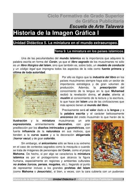 Historia De La Imagen Gráfica I Escuela De Arte De Talavera