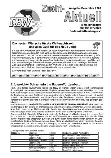 RBW-Zucht-Aktuell 12/2001 - Rinderunion Baden-Württemberg e.V.