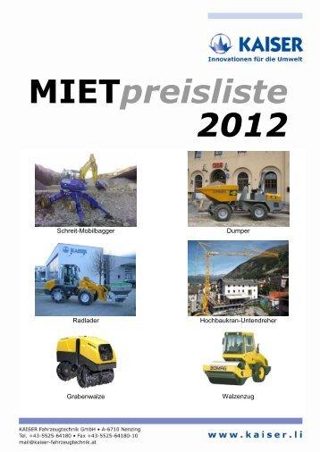 Mietpreisliste 2012