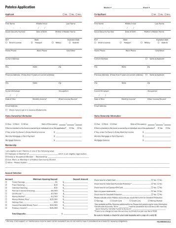 Printable Application - Patelco Credit Union