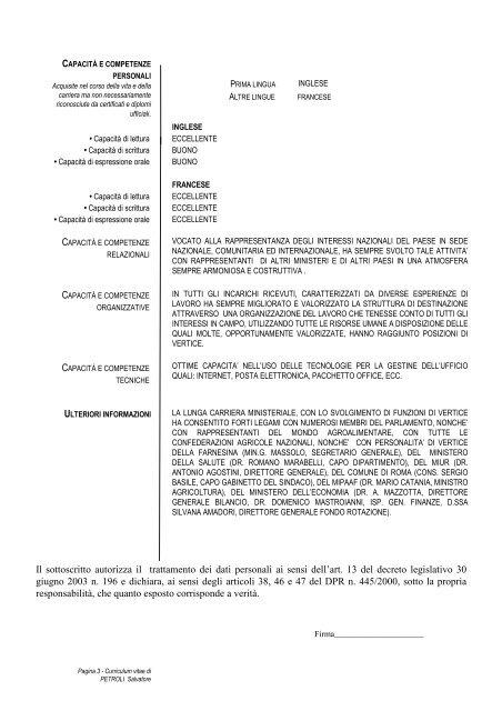 curriculum PETROLI 31.1.2012 modello europeo - Inran