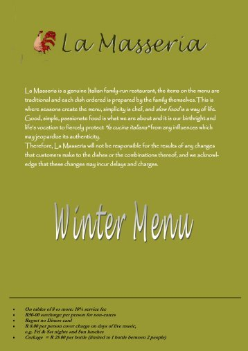 La Masseria is a genuine Italian family-run restaurant, the items on ...