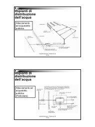 Impianti di distribuzione dell'acqua Impianti di distribuzione dell'acqua