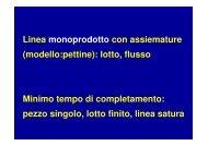 Linea monoprodotto con assiemature (modello:pettine): lotto, flusso ...