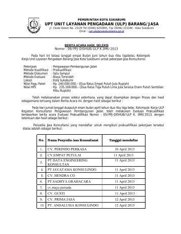 Berita Acara Hasil Seleksi - Pemerintah Kota Sukabumi