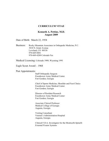 curriculum vitae kenneth a pettine md august 2009 date of