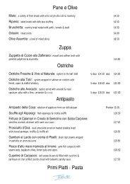 Pane e Olive Zuppa Ostriche Antipasto Primi Piatti ? Pasta