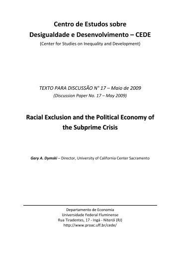 Centro de Estudos sobre Desigualdade e Desenvolvimento ... - UFF