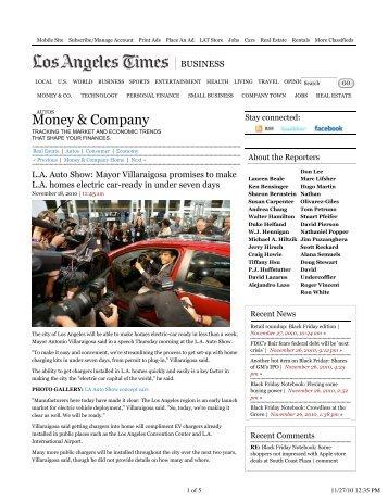Mayor Villaraigosa promises to make LA homes electric car-ready in ...