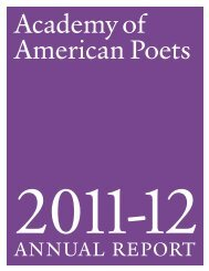 annual report - Academy of American Poets