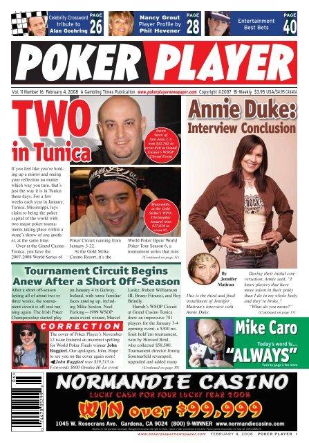 Annie Duke In Tunica Poker Player Newspaper
