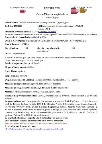Epigrafia greca Corso di laurea magistrale in ... - Lettere e filosofia