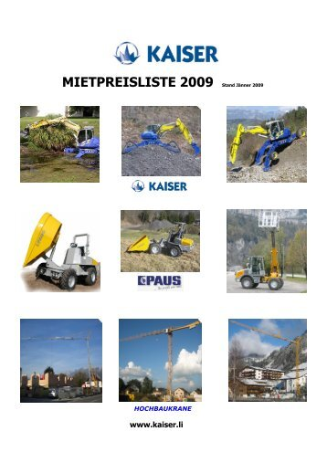 MIETPREISLISTE 2009 Stand Jänner 2009