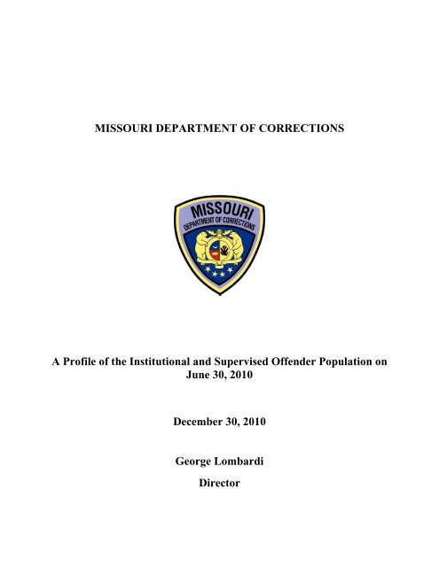 Offender Profile FY'10 - Missouri Department of Corrections