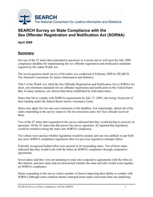 SEARCH Survey on State Compliance with the Sex Offender .