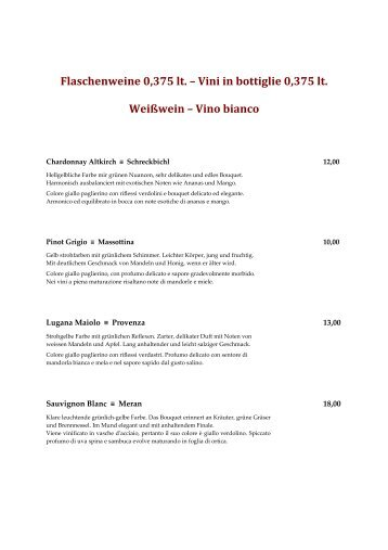 Weinkarte - Hotel Post in Bruneck