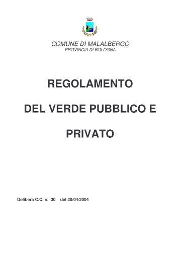 regolamento del verde pubblico e privato - Comune di Malalbergo
