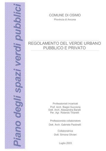 regolamento del verde urbano pubblico e privato - Comune di Osimo