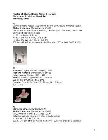 1 Master of Studio Glass: Richard Marquis Illustrated Exhibiton ...