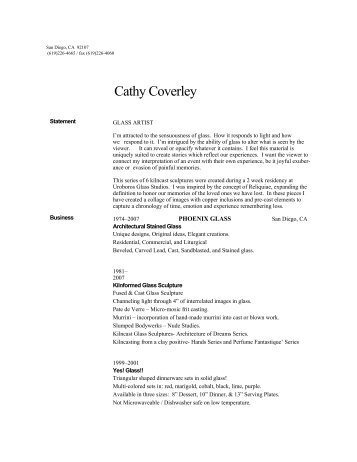 to print resume, click here... - Cathy Coverley