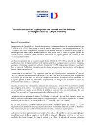1 Affiliation rétroactive au régime général des services militaires ...
