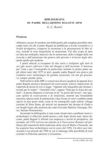 Liber Annuus 50 (2000) Indice copertina