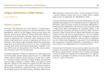 Lingua, letteratura e civiltà italiana - Master in Lingua, letteratura e ...