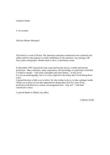 Umberto Grella L'Avvocatino Edizioni Milano Metropoli This book is ...