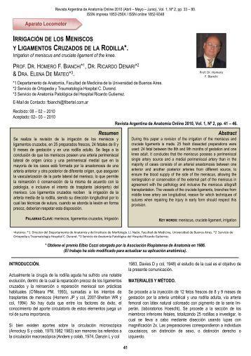 irrigación de los meniscos - Asociación Argentina de Anatomía