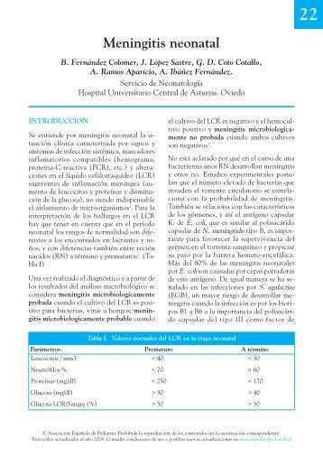 Meningitis neonatal - Asociación Española de Pediatría
