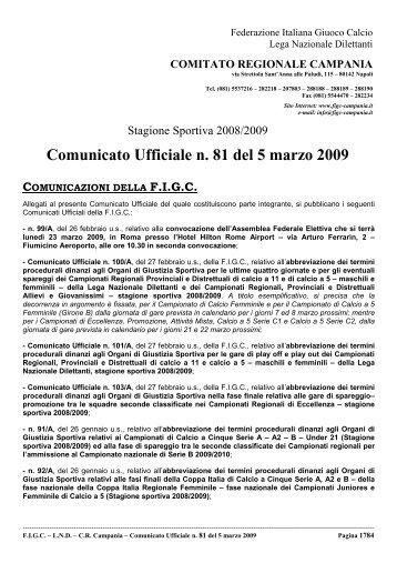 Comunicato Ufficiale n. 81 del 5 marzo 2009 - Informacalcio.it