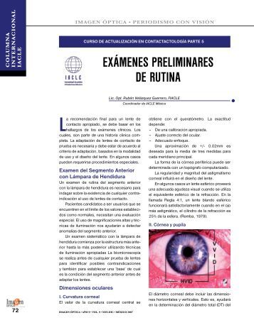EXÁMENES PRELIMINARES DE RUTINA - Imagen Optica