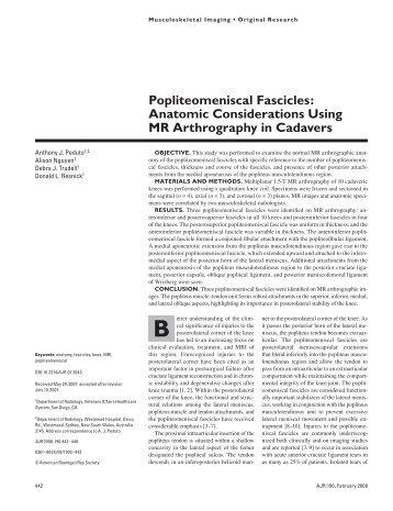 Popliteomeniscal Fascicles: Anatomic Considerations Using MR ...