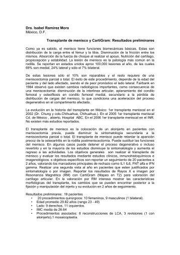 TRANSPLANTE DE MENISCO Y CARTIGRAM ... - SMRI.org.mx