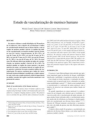 Estudo da vascularização do menisco humano - Unifesp