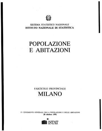 POPOLAZIONE E ABITAZIONI MILANO - Istat