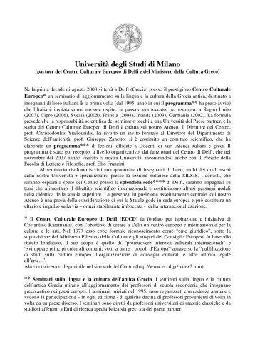 Centro Culturale Europeo di Delfi - Studi umanistici Unimi ...