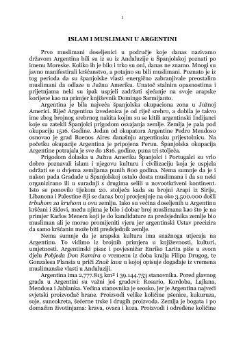 islam i muslimani u argentini - Islamska zajednica u Hrvatskoj