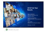 Wolters Kluwer 2010 Full-Year Results Presentation for Analysts ...
