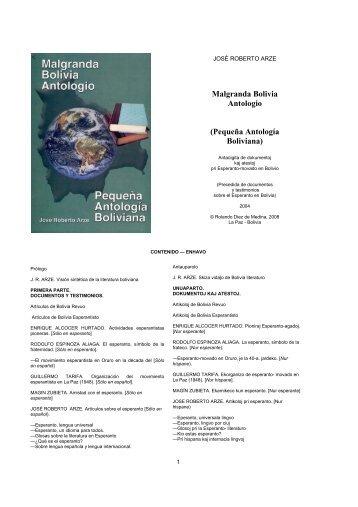 Malgranda Bolivia Antologio (Pequeña Antología Boliviana) - andes