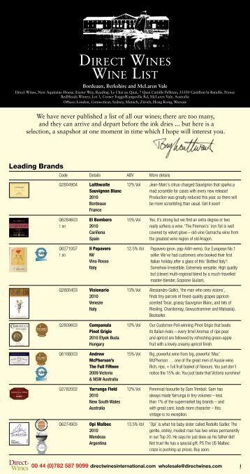 Core Brochure {pdf file} - Direct Wines International