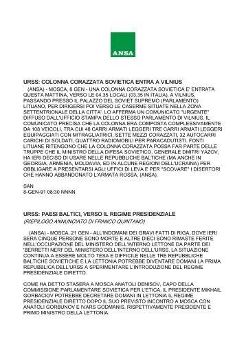 Notizia Ansa - 08/01/91 - Corazzati a Vilnius